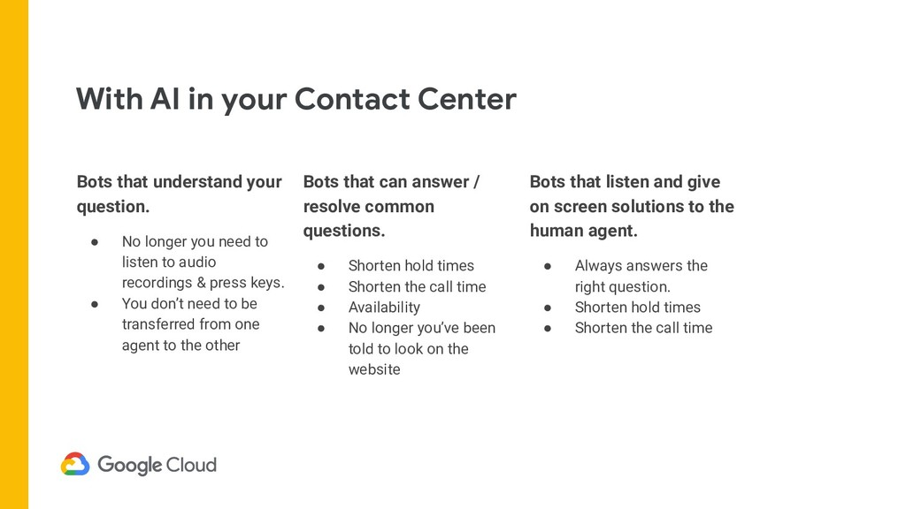 With AI in your Contact Center Bots that listen...