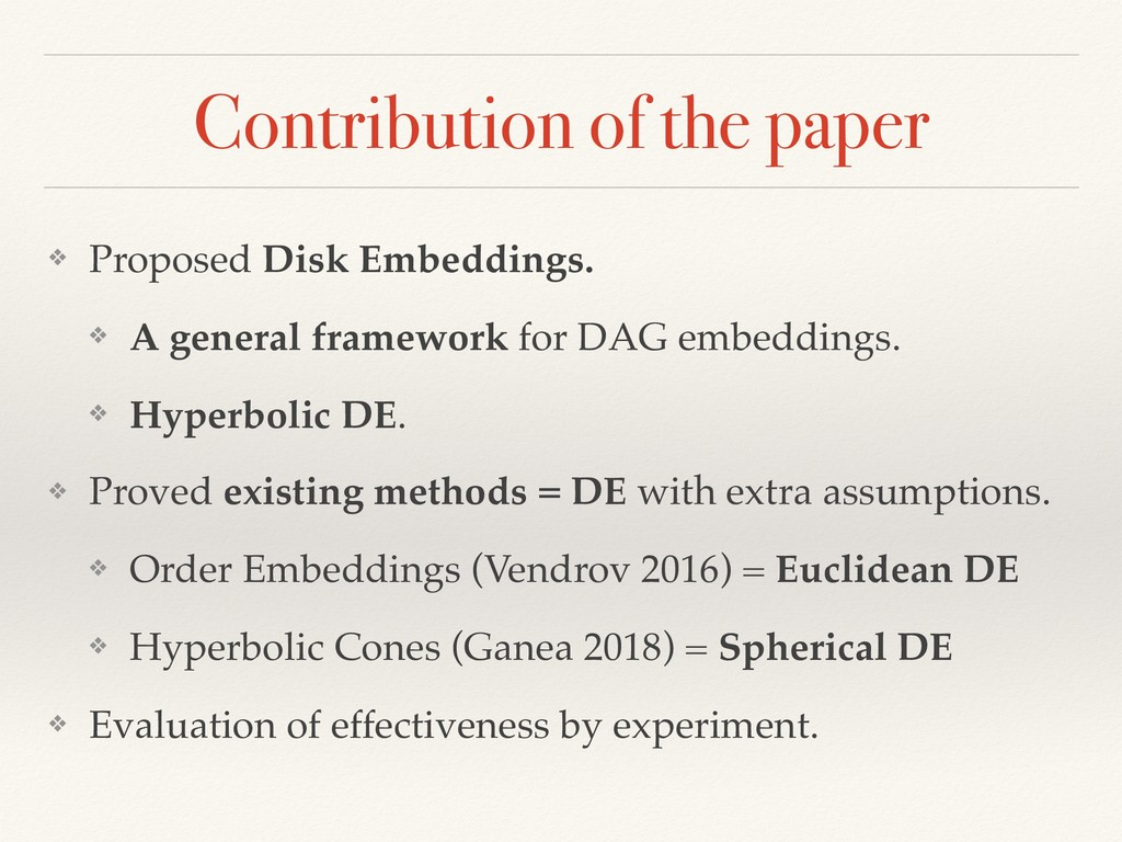 Contribution of the paper ❖ Proposed Disk Embed...