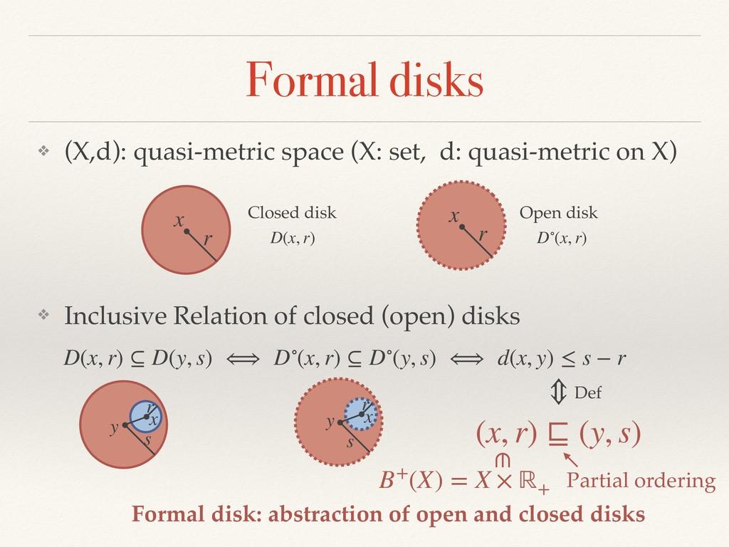 Formal disks ❖ (X,d): quasi-metric space (X: se...