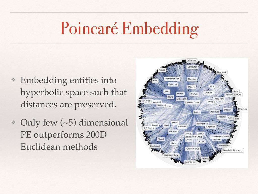 Poincaré Embedding ❖ Embedding entities into h...