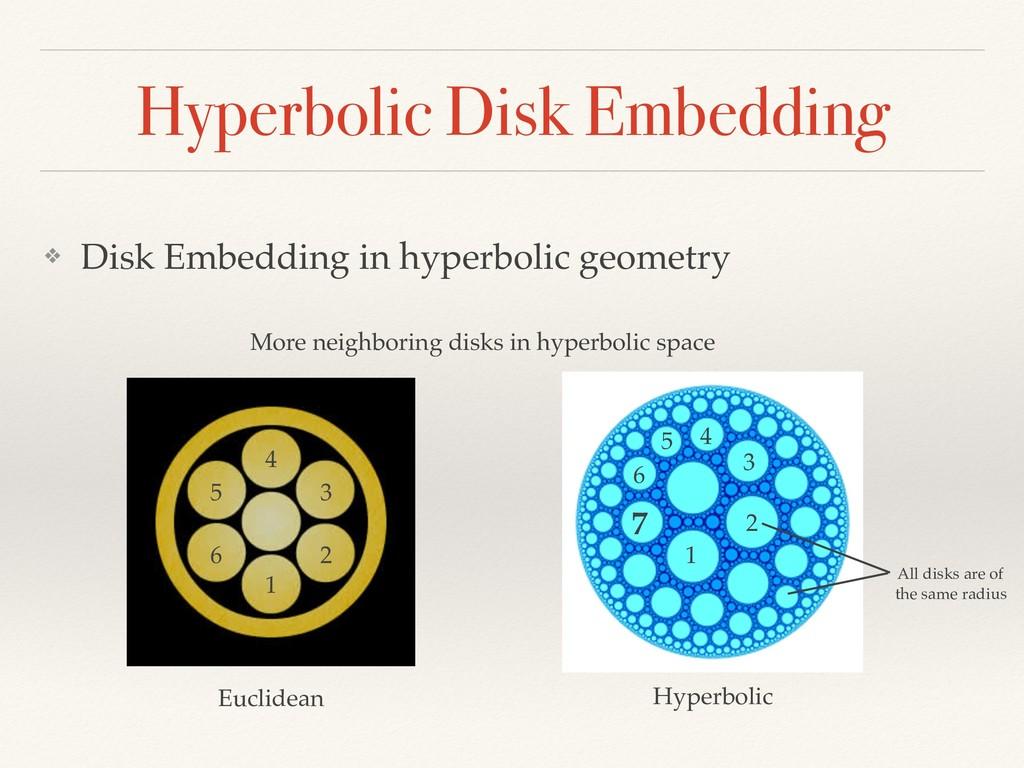Hyperbolic Disk Embedding ❖ Disk Embedding in h...