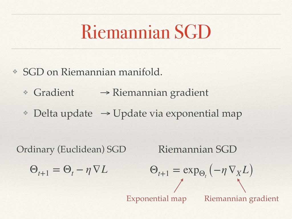 Riemannian SGD ❖ SGD on Riemannian manifold. ❖ ...