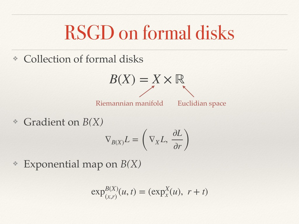 RSGD on formal disks ❖ Collection of formal dis...