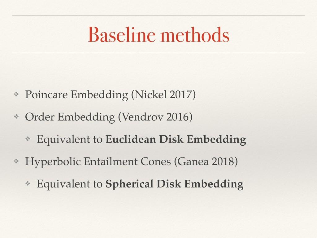 Baseline methods ❖ Poincare Embedding (Nickel 2...