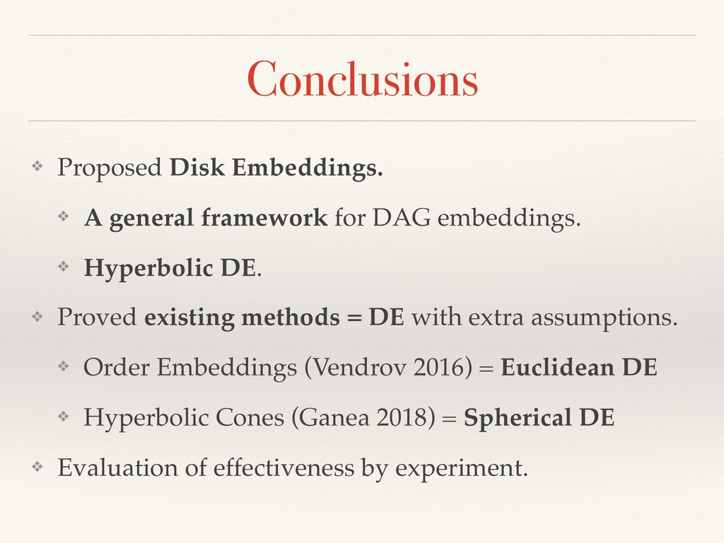 Conclusions ❖ Proposed Disk Embeddings. ❖ A gen...