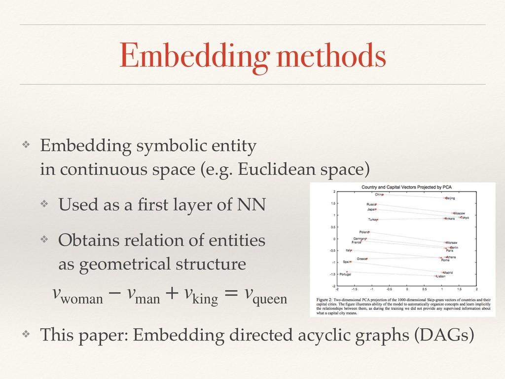 Embedding methods ❖ Embedding symbolic entity ...