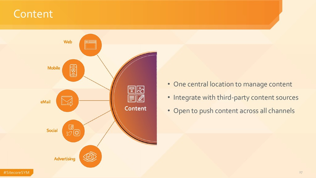 #SitecoreSYM 27 Content • One central location ...