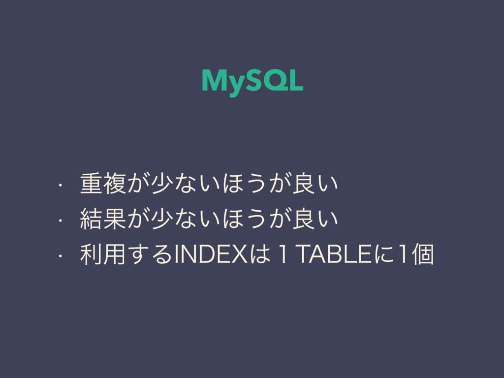 MySQL w ॏෳ͕গͳ͍΄͏͕ྑ͍ w ݁Ռ͕গͳ͍΄͏͕ྑ͍ w ར༻͢Δ*/%&9...