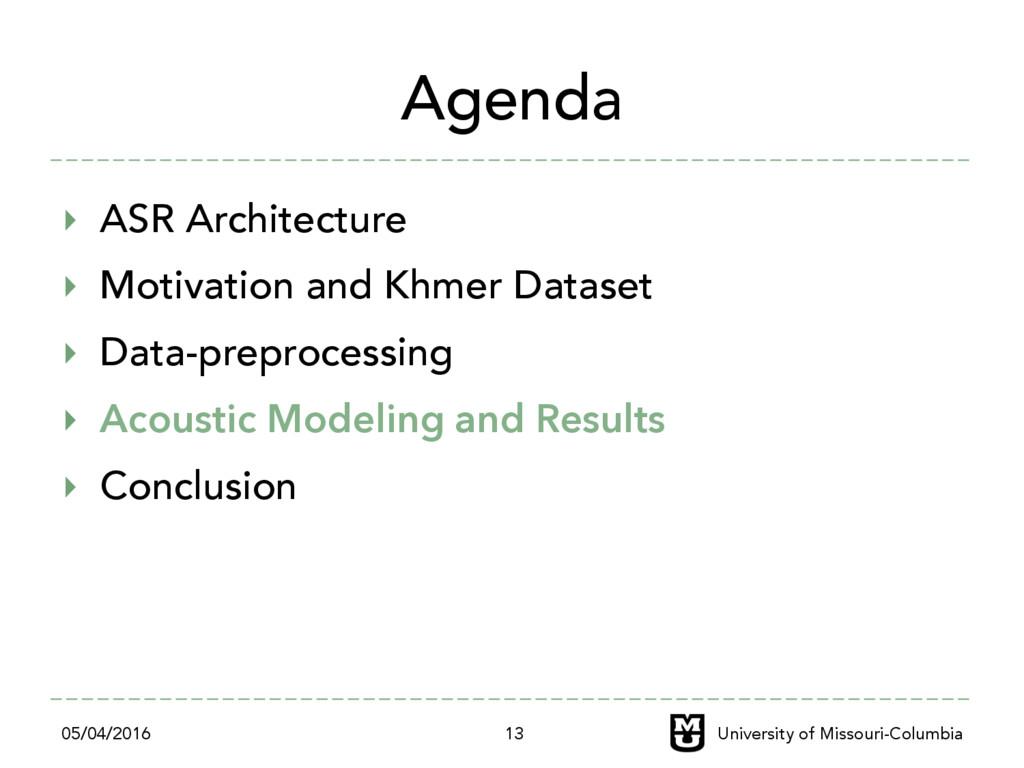 Agenda ‣ ASR Architecture ‣ Motivation and Kh...