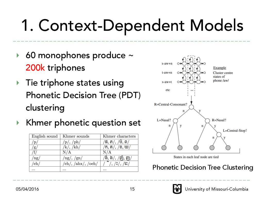 1. Context-Dependent Models ‣ 60 monophones pr...