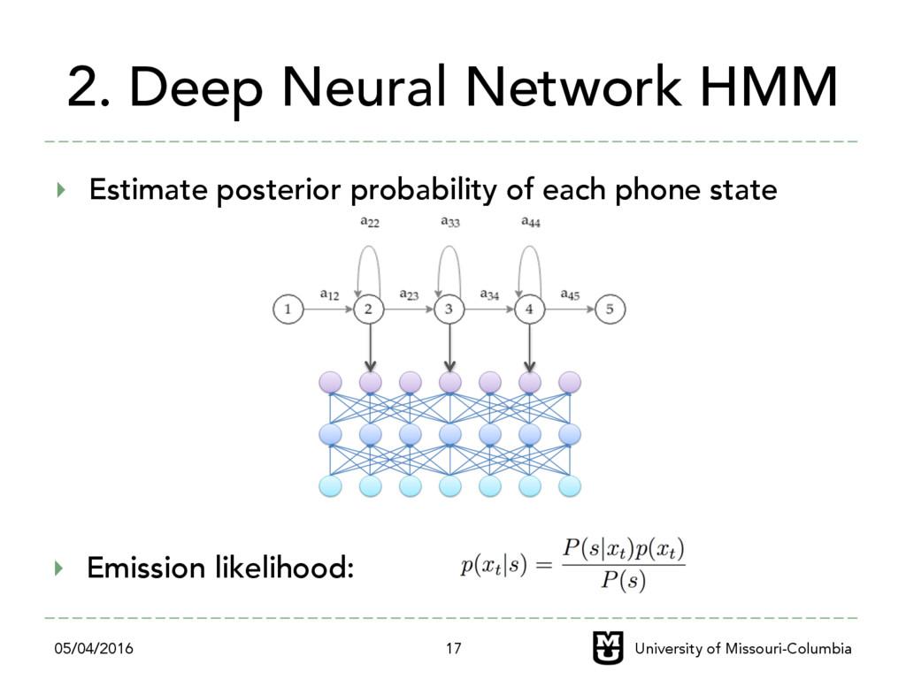 2. Deep Neural Network HMM ‣ Estimate posterio...