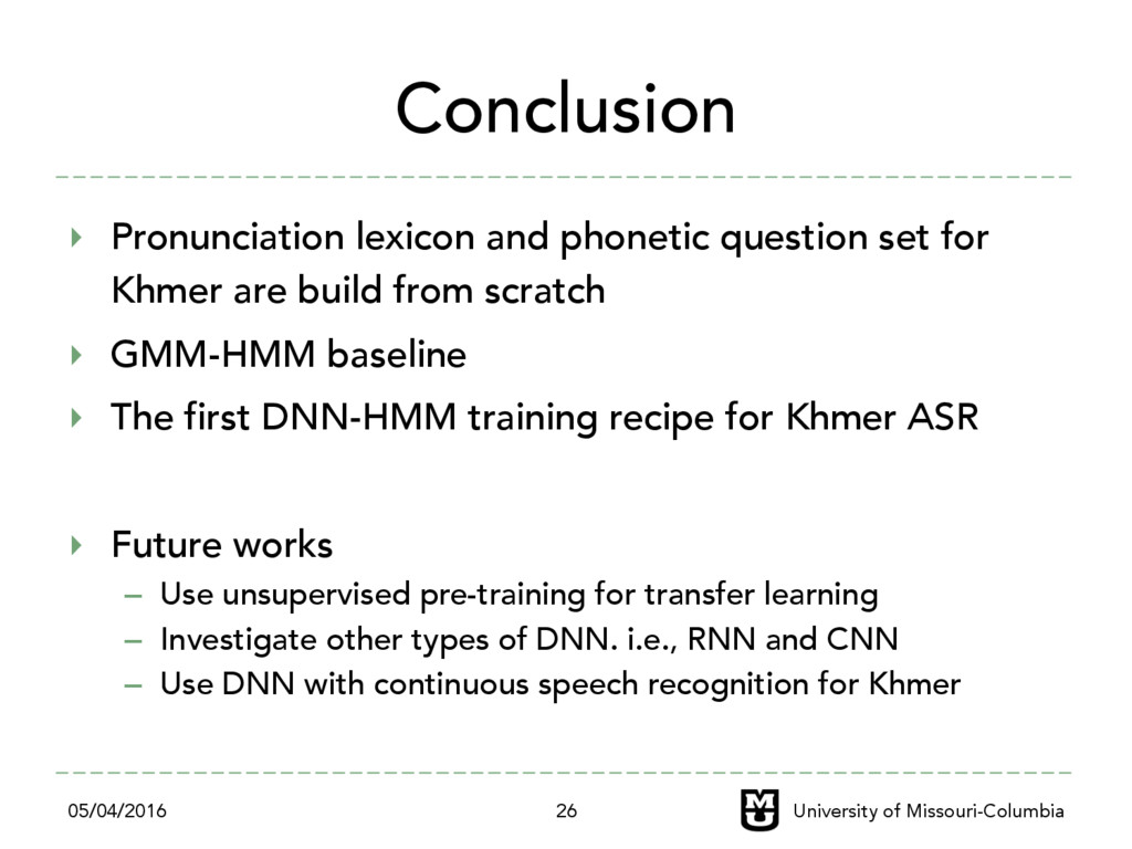 Conclusion ‣ Pronunciation lexicon and phoneti...