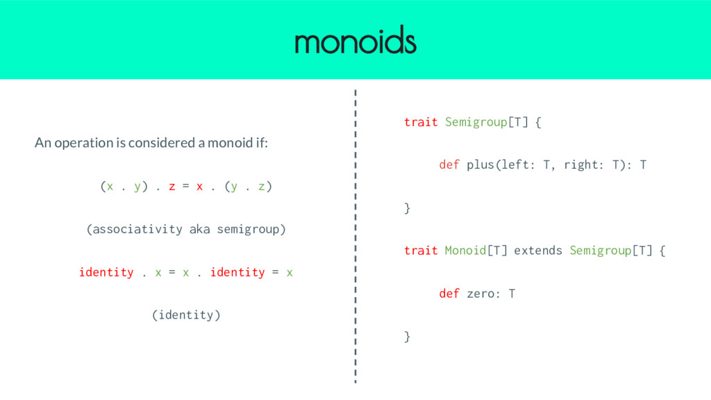 An operation is considered a monoid if: (x . y)...