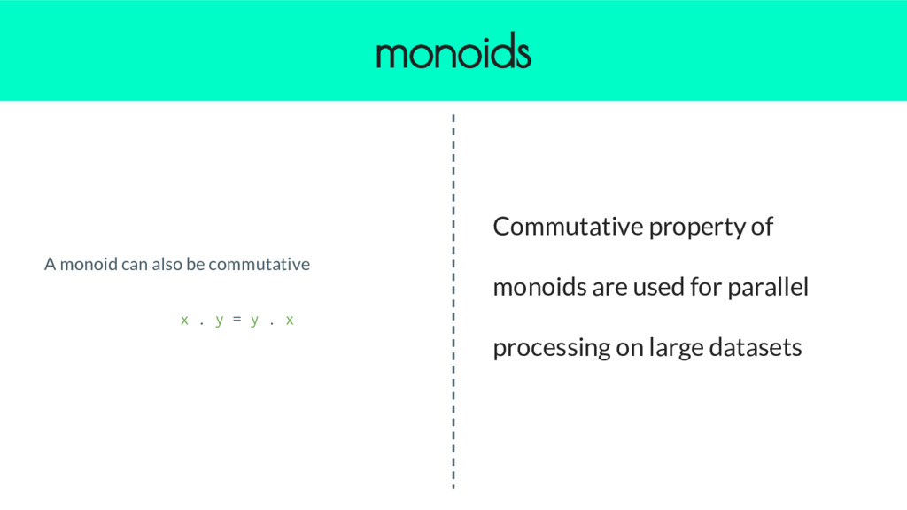A monoid can also be commutative x . y = y . x ...