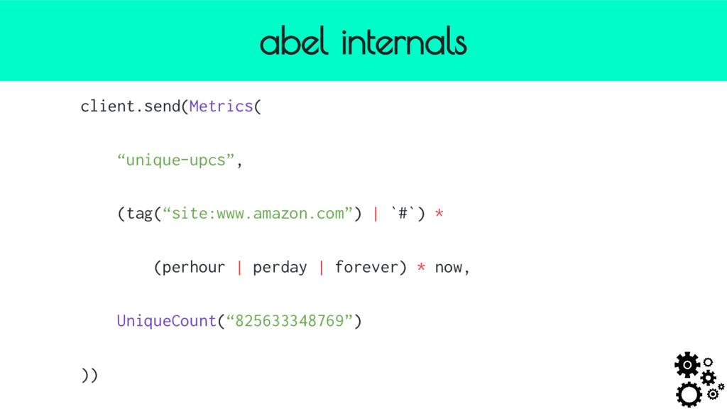 "abel internals client.send(Metrics( ""unique-upc..."