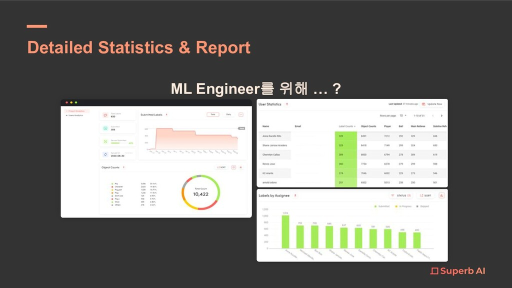 ML Engineer를 위해 … ? Detailed Statistics & Report