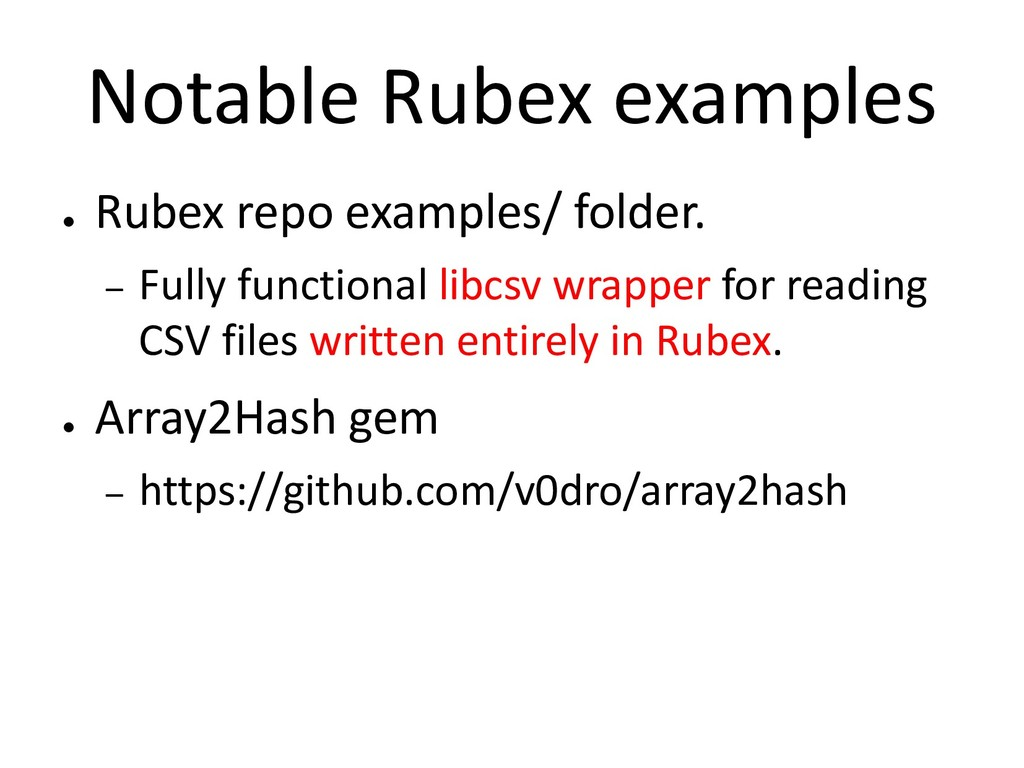 Notable Rubex examples ● Rubex repo examples/ f...