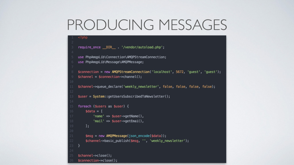 PRODUCING MESSAGES