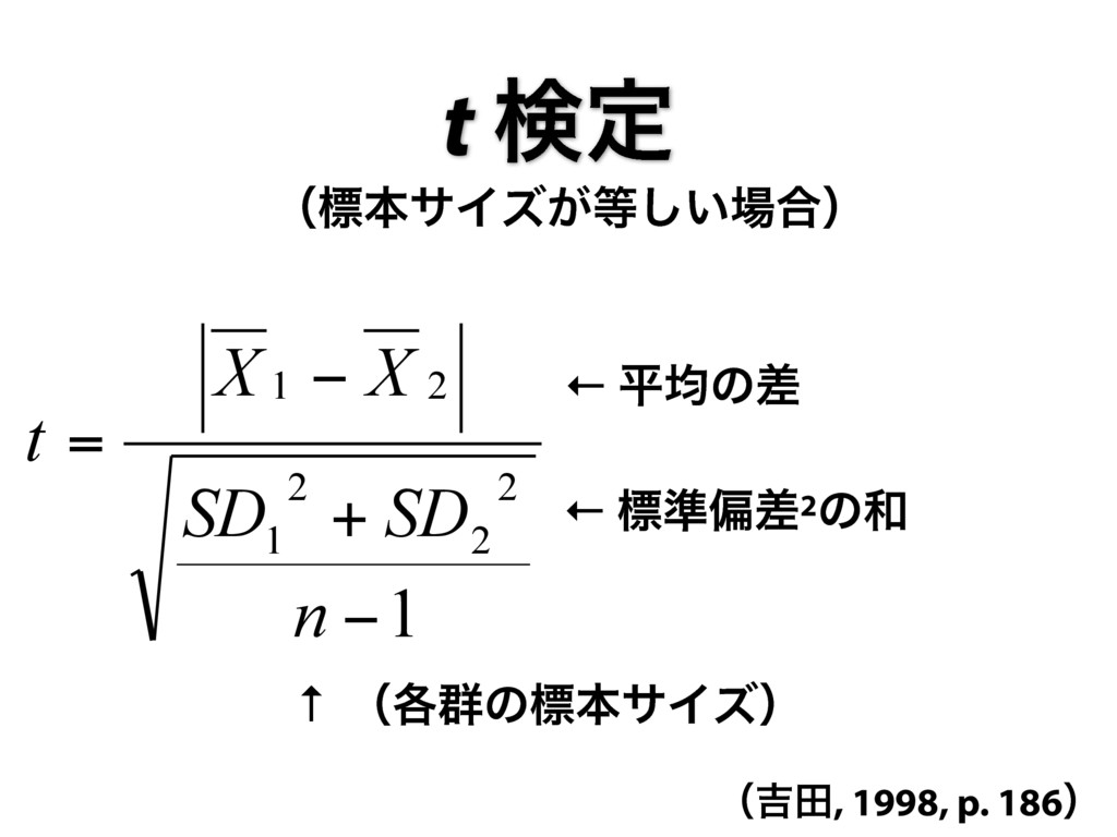 t ݕఆ ← ฏۉͷࠩ ← ඪ४ภࠩ2ͷ 1 2 2 2 1 2 1 − + − = n ...