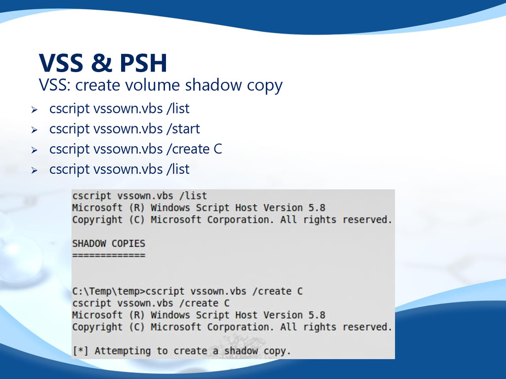  cscript vssown.vbs /list  cscript vssown.vbs...