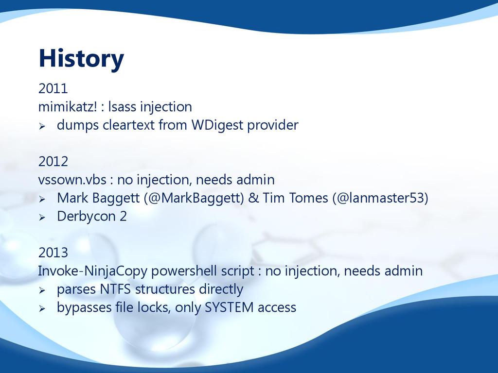2011 mimikatz! : lsass injection  dumps cleart...