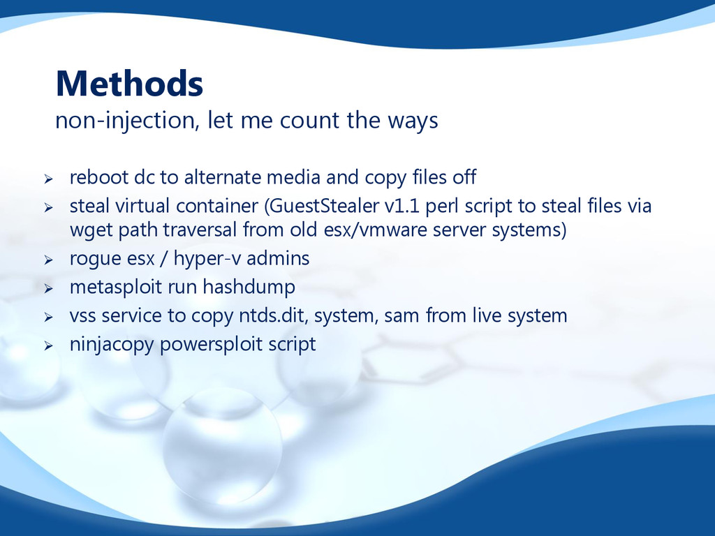 Methods non-injection, let me count the ways  ...