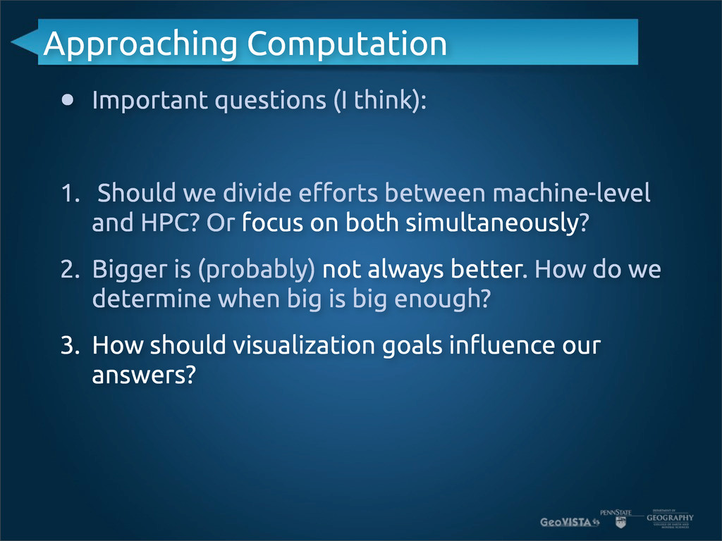 Approaching Computation • Important questions (...