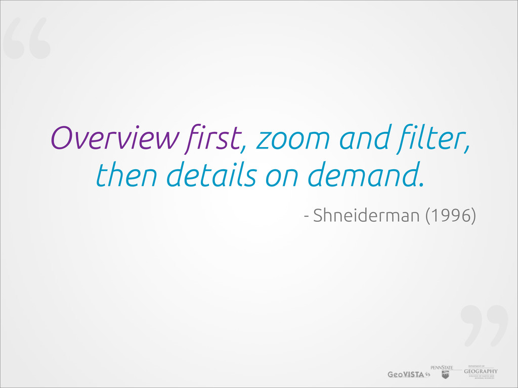 """"""" Overview !rst, zoom and !lter, then details o..."""