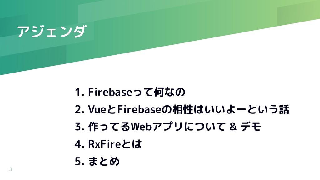 アジェンダ 1. Firebaseって何なの 2. VueとFirebaseの相性はいいよーと...