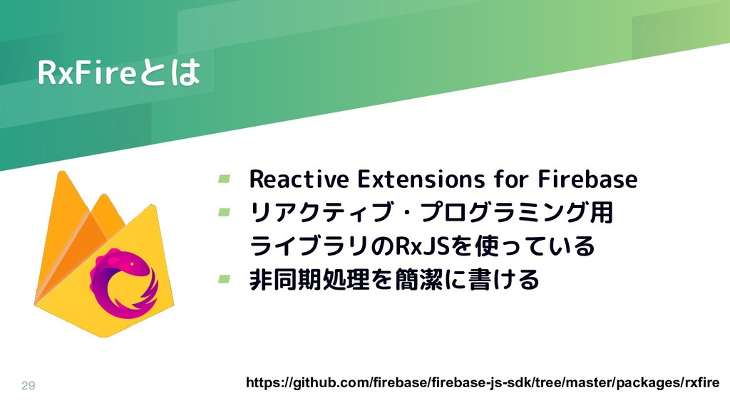 RxFireとは ▰ Reactive Extensions for Firebase ▰ リ...
