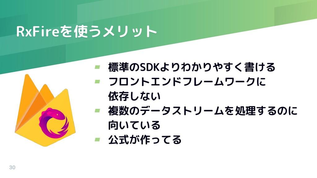 RxFireを使うメリット ▰ 標準のSDKよりわかりやすく書ける ▰ フロントエンドフレーム...