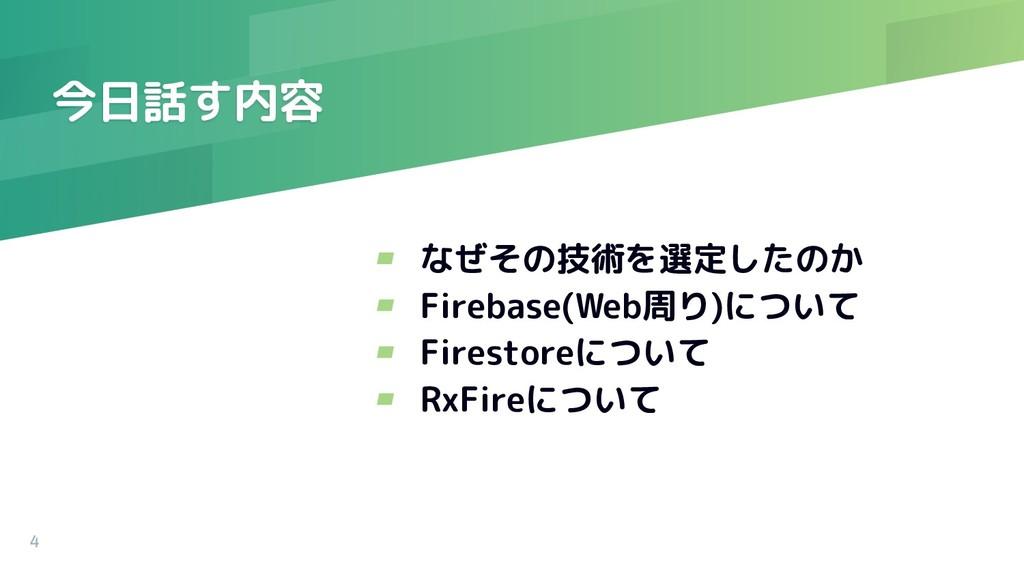 今日話す内容 4 ▰ なぜその技術を選定したのか ▰ Firebase(Web周り)について ...