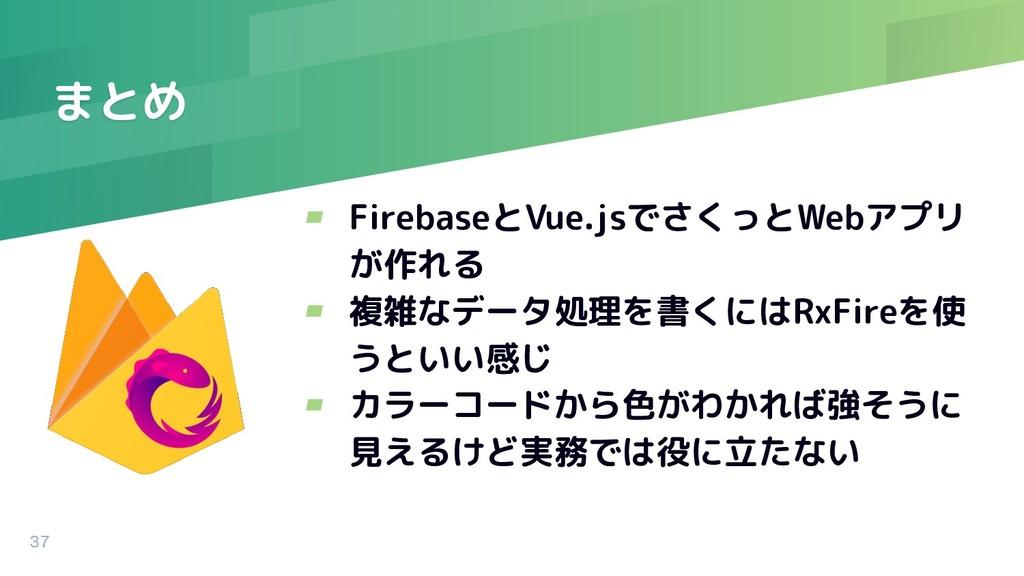 まとめ ▰ FirebaseとVue.jsでさくっとWebアプリ が作れる ▰ 複雑なデータ処...