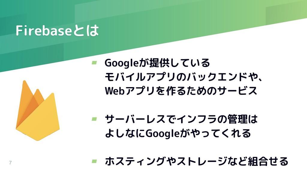 Firebaseとは ▰ Googleが提供している モバイルアプリのバックエンドや、 Web...