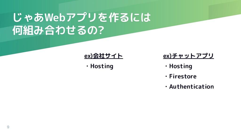 ex)会社サイト ・Hosting じゃあWebアプリを作るには 何組み合わせるの? ex)チ...