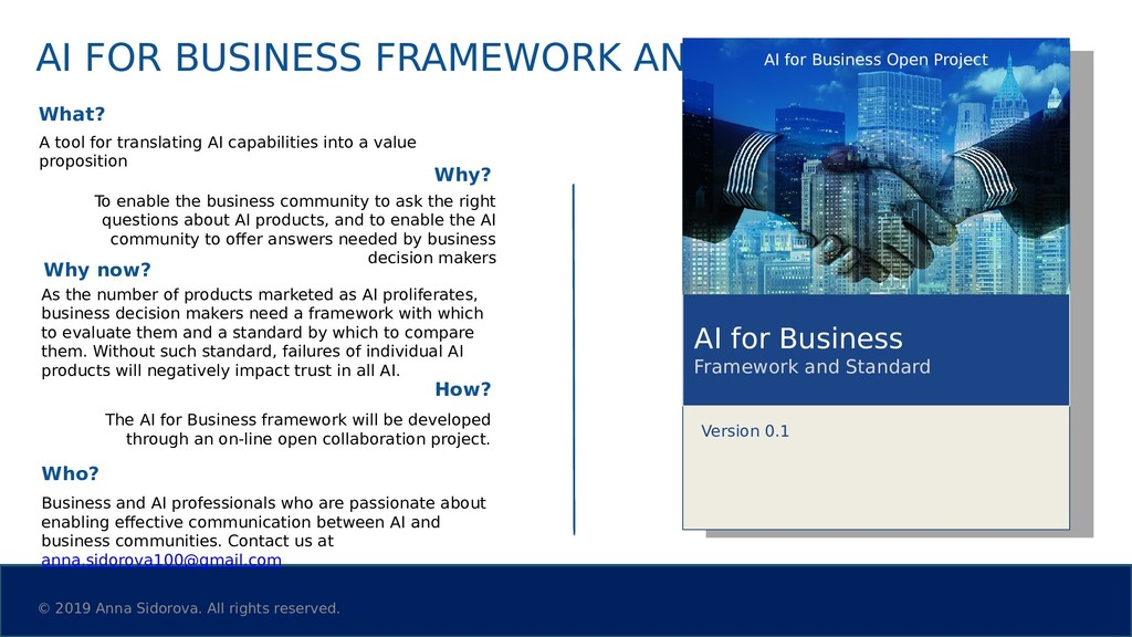 AI FOR BUSINESS FRAMEWORK AND STANDARD What? A ...