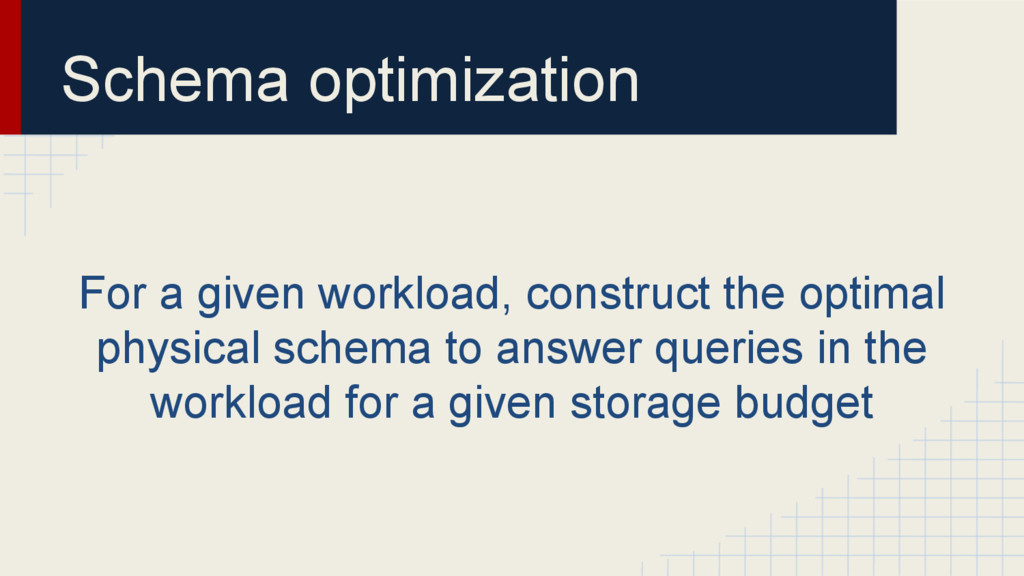 Schema optimization For a given workload, const...