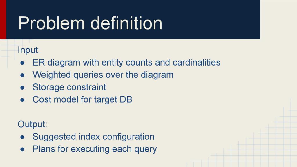 Problem definition Input: ● ER diagram with ent...