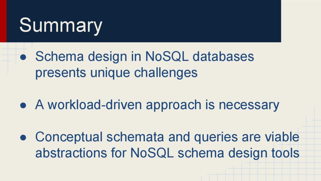 Summary ● Schema design in NoSQL databases pres...