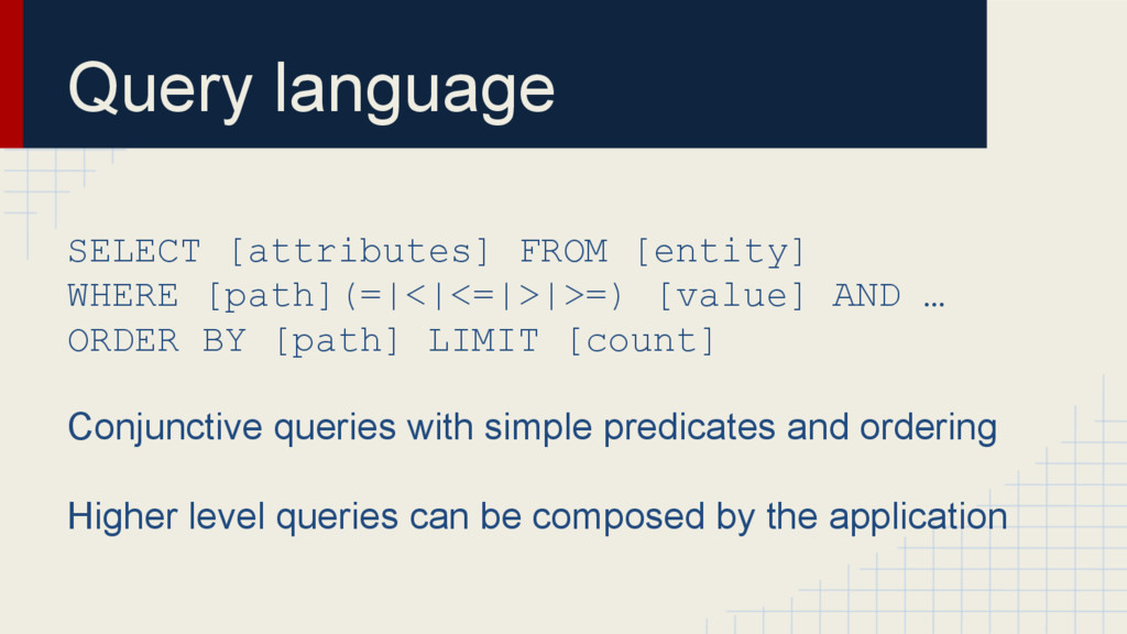 Query language SELECT [attributes] FROM [entity...