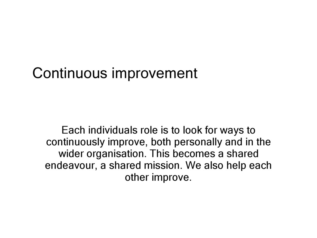 Continuous improvement Each individuals role is...