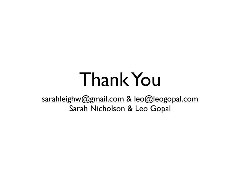 Thank You sarahleighw@gmail.com & leo@leogopal....