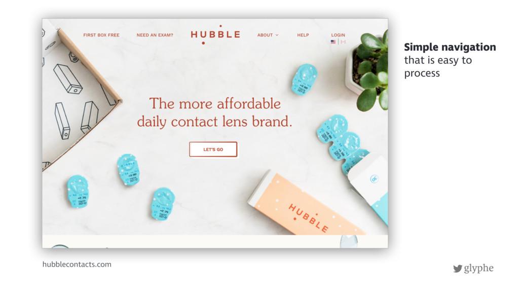 glyphe hubblecontacts.com Simple navigation tha...