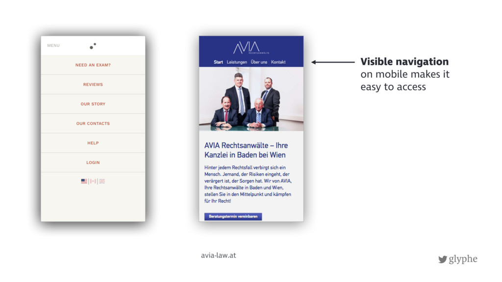 glyphe avia-law.at Visible navigation on mobile...