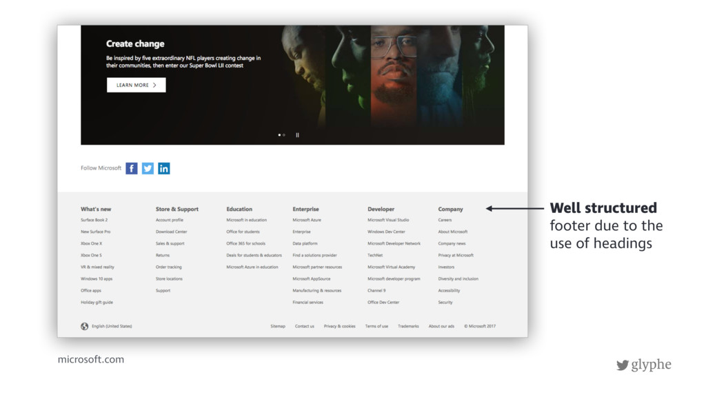 glyphe microsoft.com Well structured footer due...
