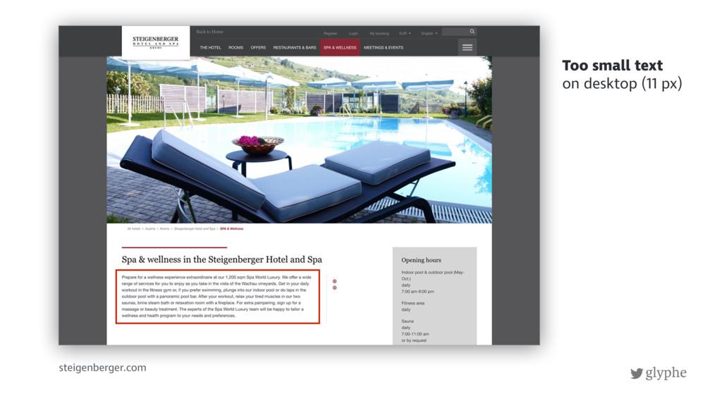 glyphe steigenberger.com Too small text on desk...