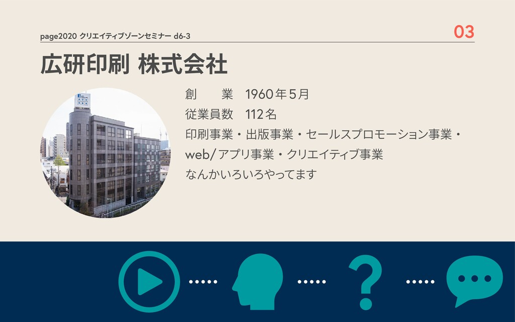 page2020 クリエイティブゾーンセミナー d6-3 03 広研印刷 株式会社 創  業 ...