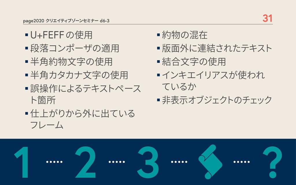 page2020 クリエイティブゾーンセミナー d6-3 31 ▪U+FEFFの使用 ▪段落コ...