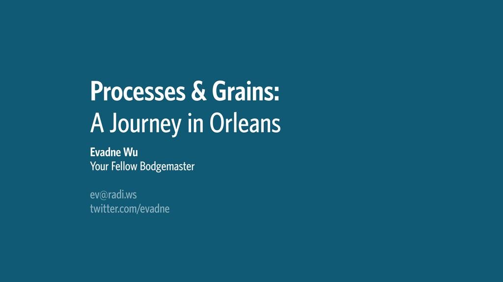 Processes & Grains: A Journey in Orleans Evadne...
