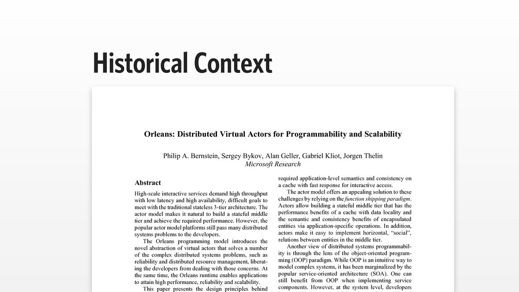 Historical Context Orleans: Distributed Virtual...